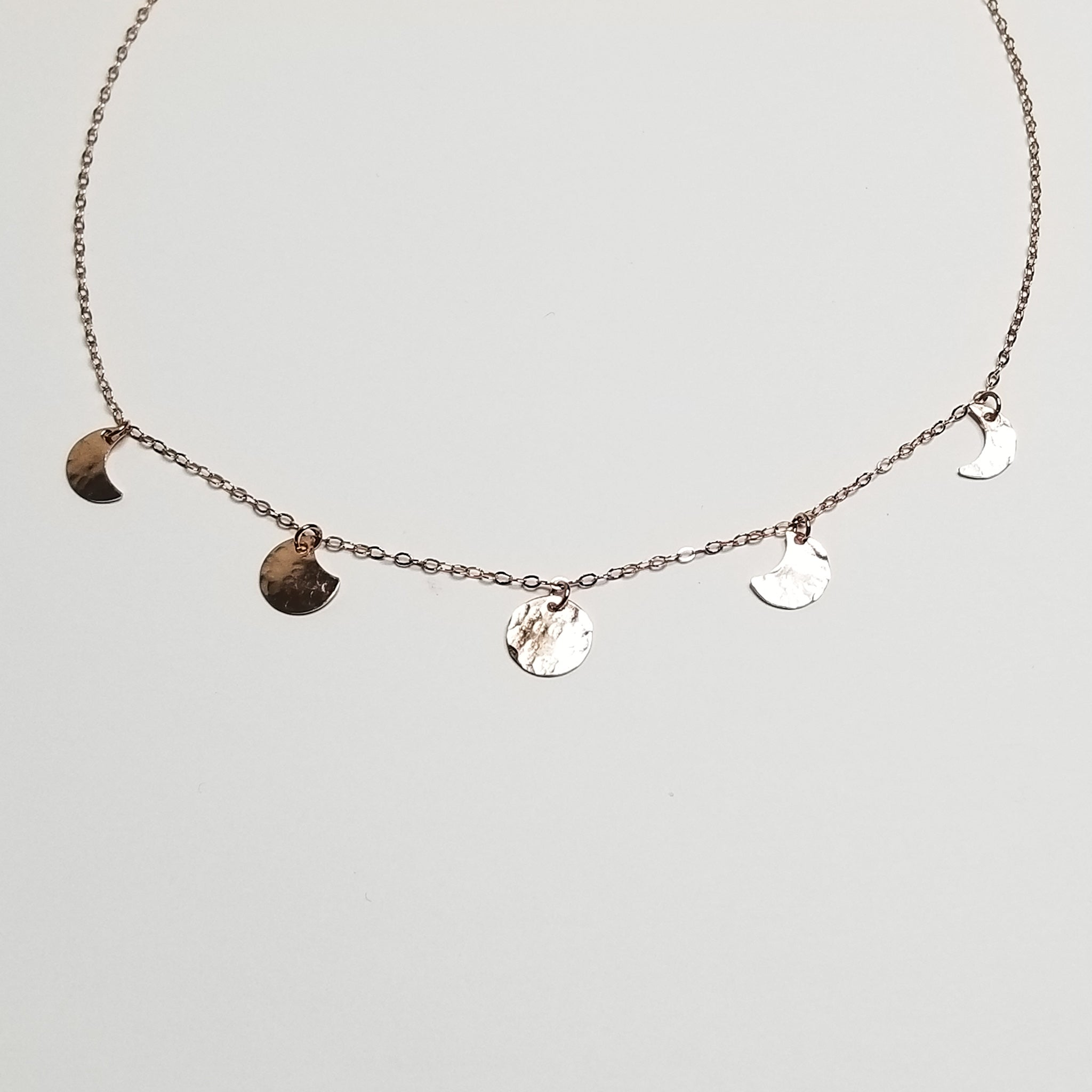 mini moonphase necklace - 14k rose gold filled