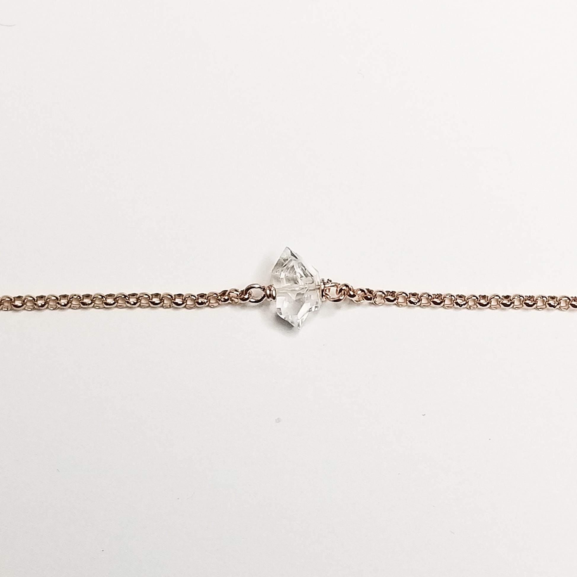 Herkimer diamond bracelet - 14k rose gold filled