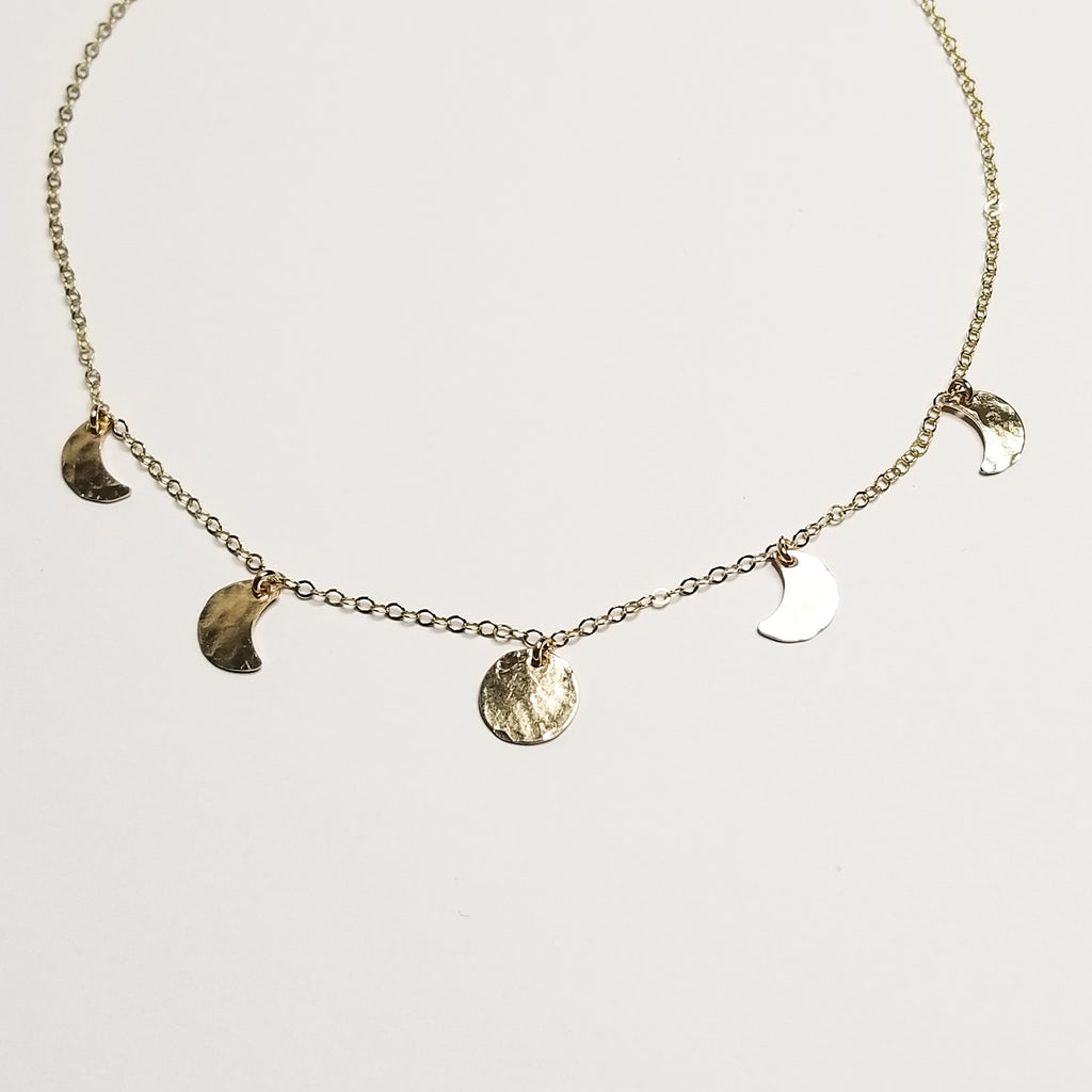 mini moonphase necklace - 14k yellow gold filled