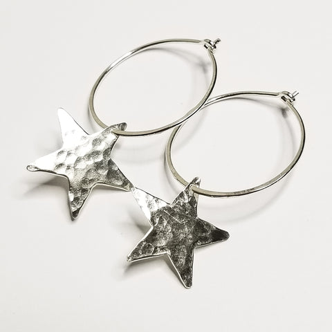Star hoops - sterling silver