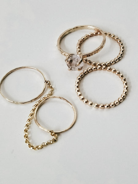 Double chain ring - 14k yellow gold filled