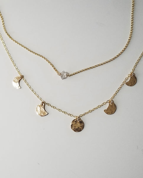 Herkimer diamond necklace - 14k yellow gold filled