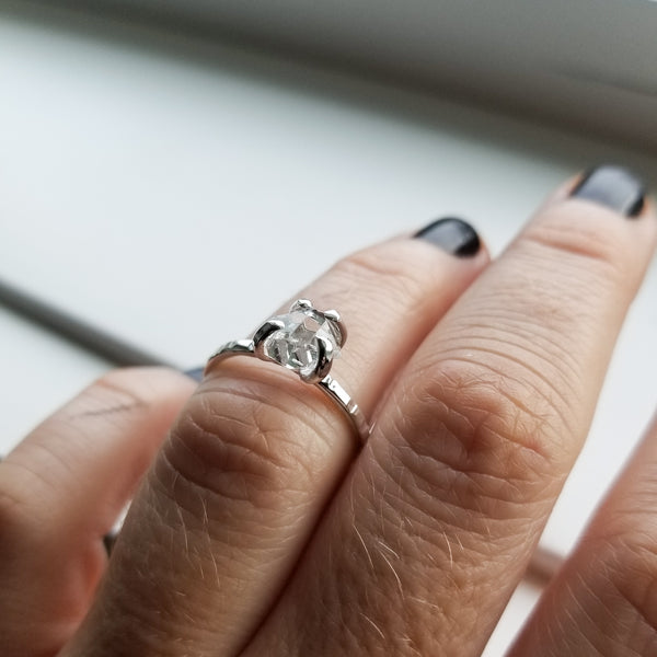 Herkimer diamond ring - size 6.5