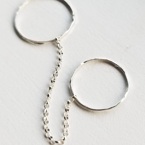 Double chain ring - sterling silver