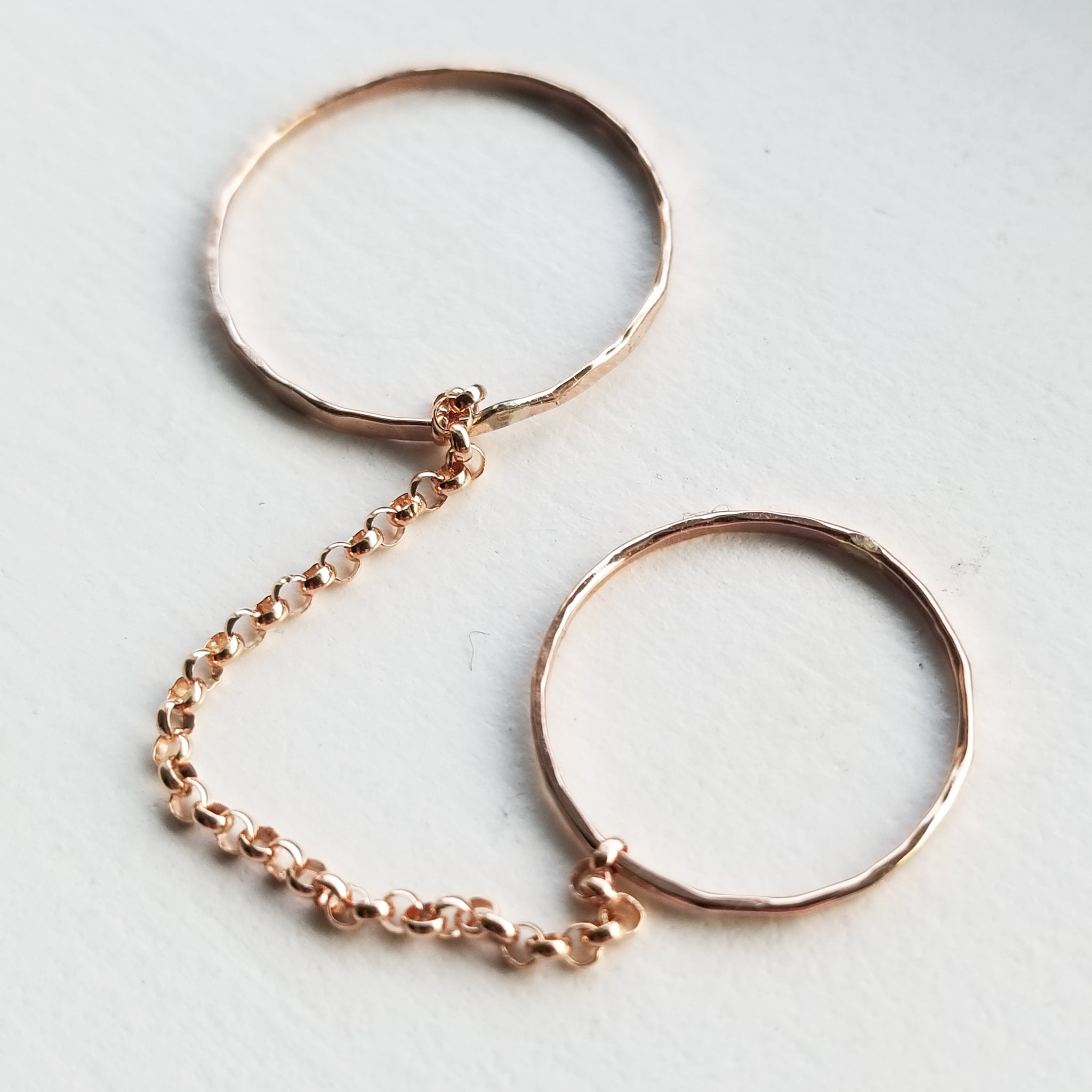 Double chain ring - 14k rose gold filled