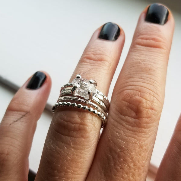 Droplet ring stack - sterling silver