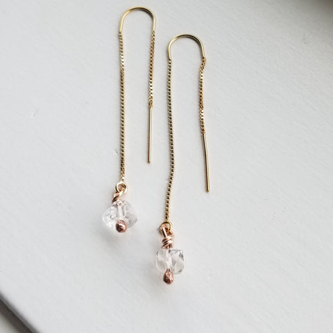 Herkimer diamond threaders - 14k yellow  gold filled