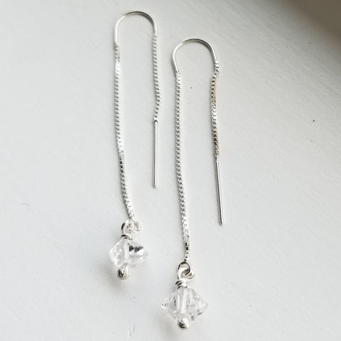 Herkimer diamond threaders - sterling silver