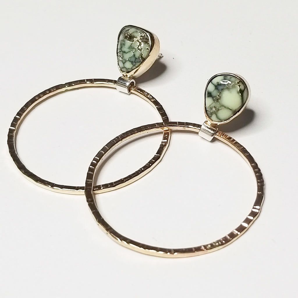 Variscite hoops - 14k solid yellow gold & mixed metal