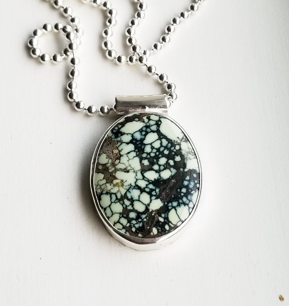 Variscite necklace - sterling silver
