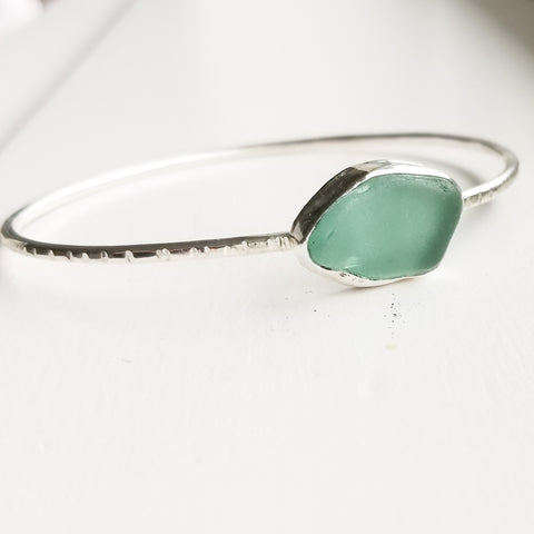 Bangle - beachglass - sterling silver