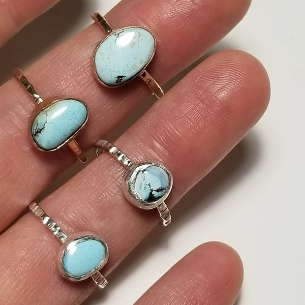 Turquoise ring + stackers - 14k gold filled