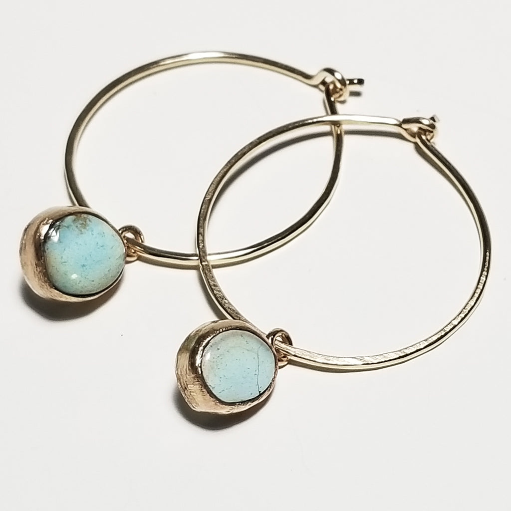 Turquoise hoops - 14k gold filled