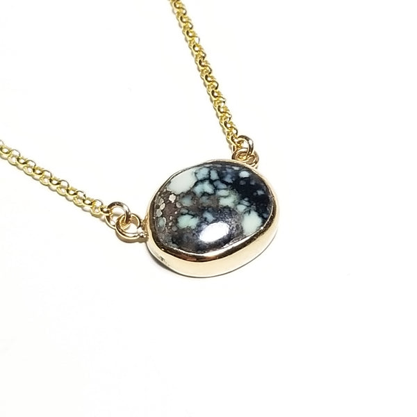 Variscite necklace - 14k gold bezel - 14k gold filled chain