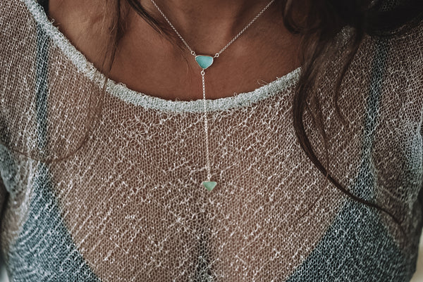 Lariat - beachglass - sterling silver