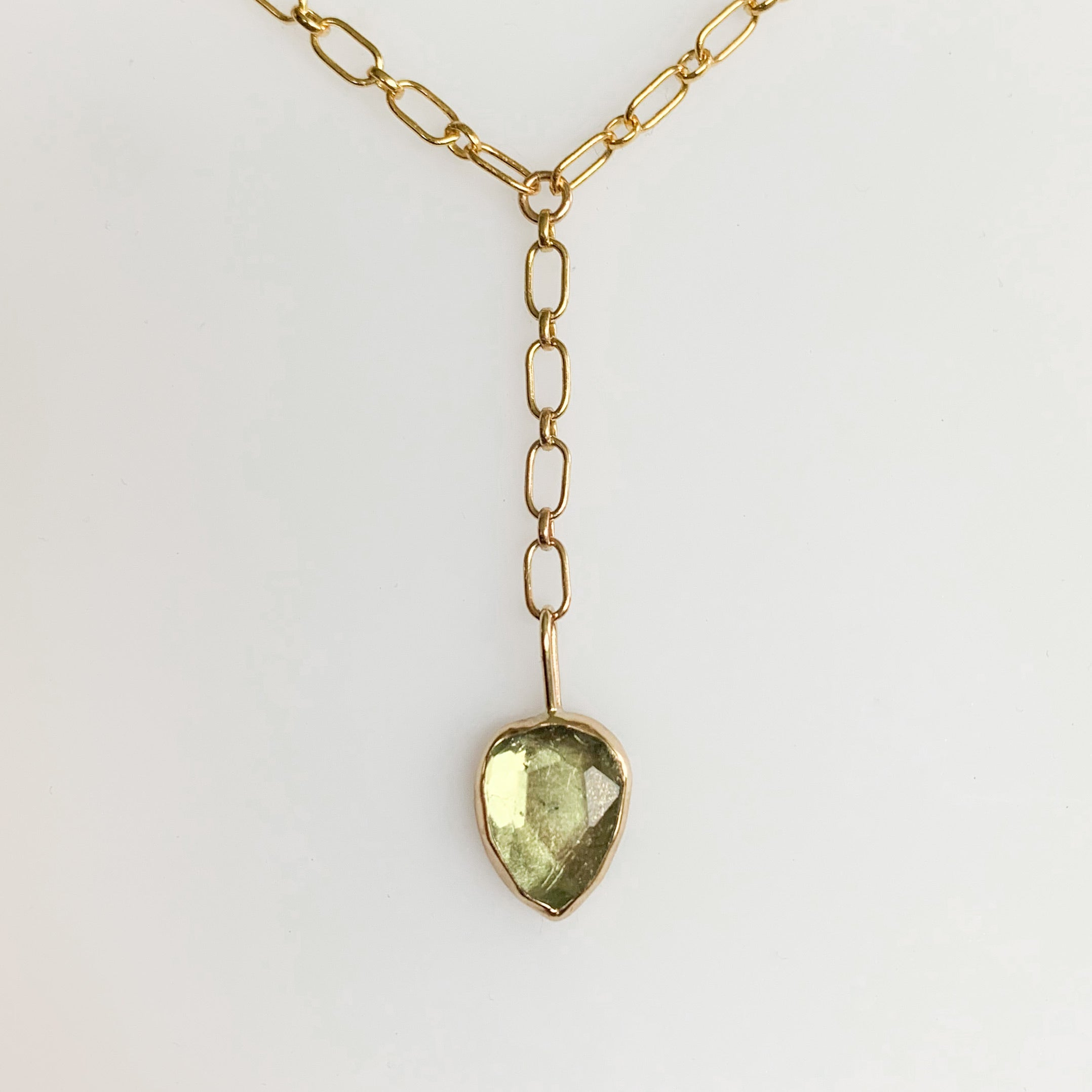 Tourmaline lariat - gold
