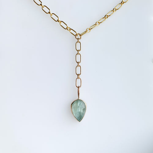 Aquamarine lariat - gold