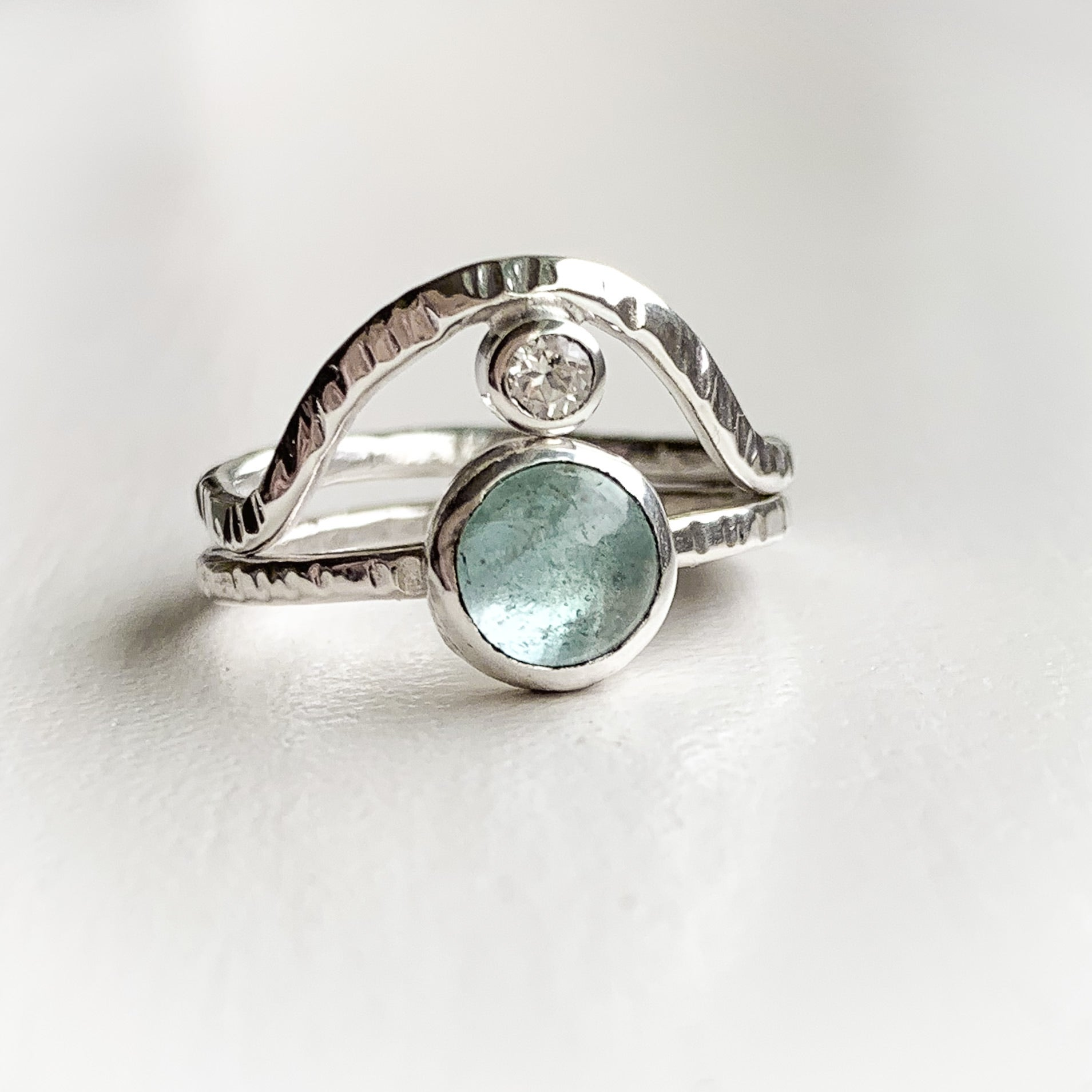 Aquamarine ring set - sterling silver - size 6.5