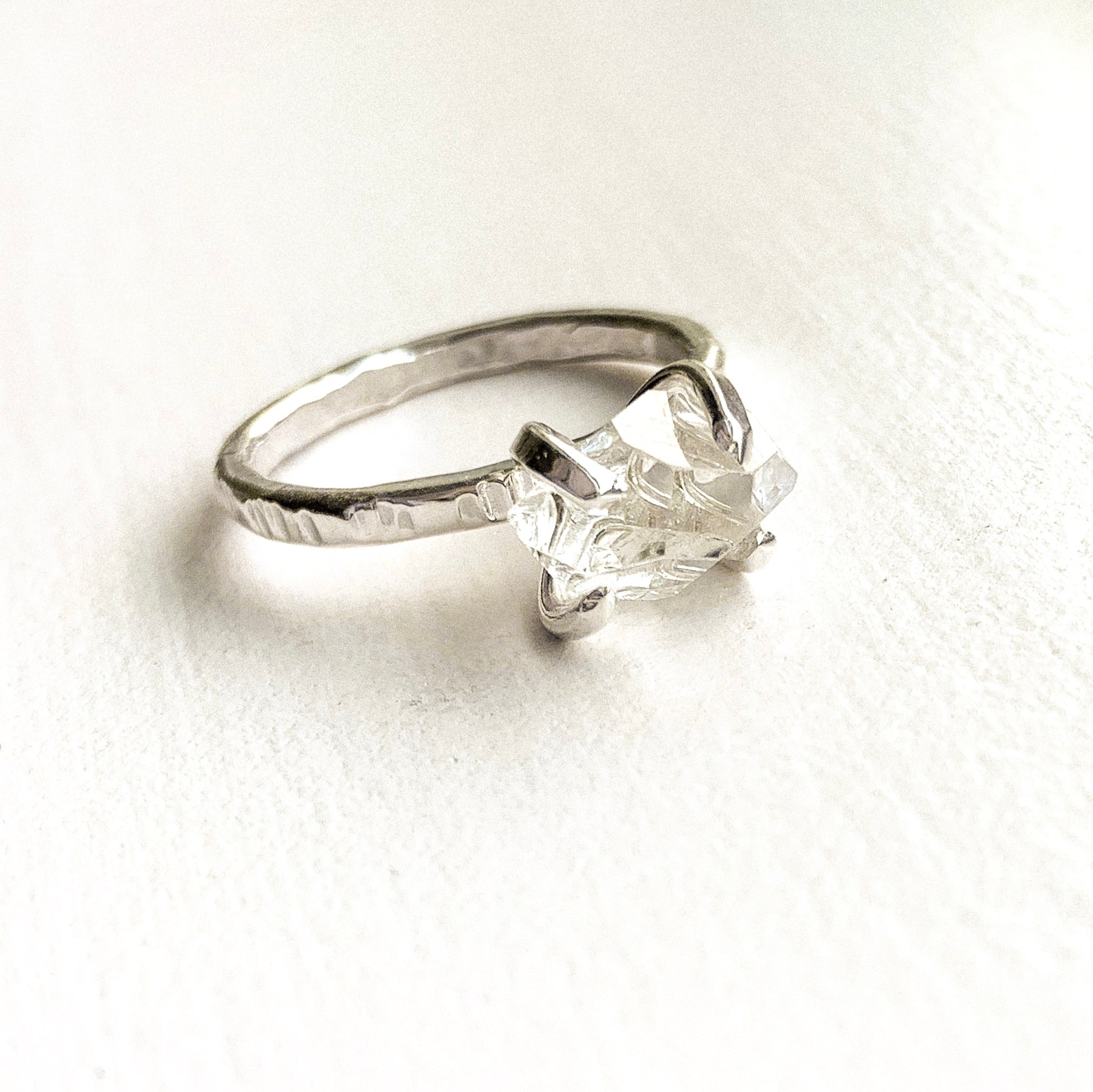 HERKIMER DIAMOND CRYSTAL RING - SILVER- SIZE 6