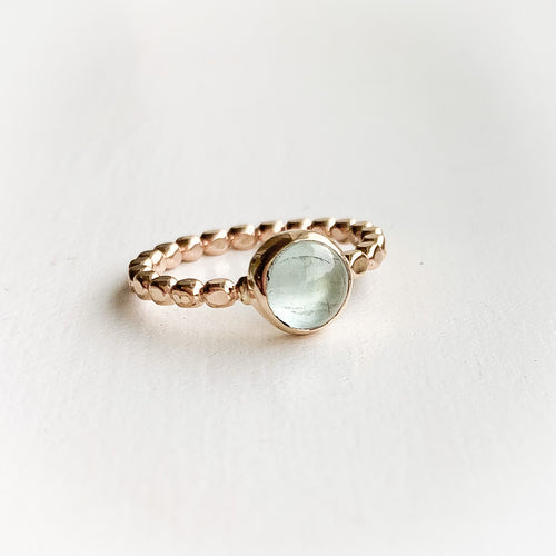 Aquamarine ring - gold - size 8