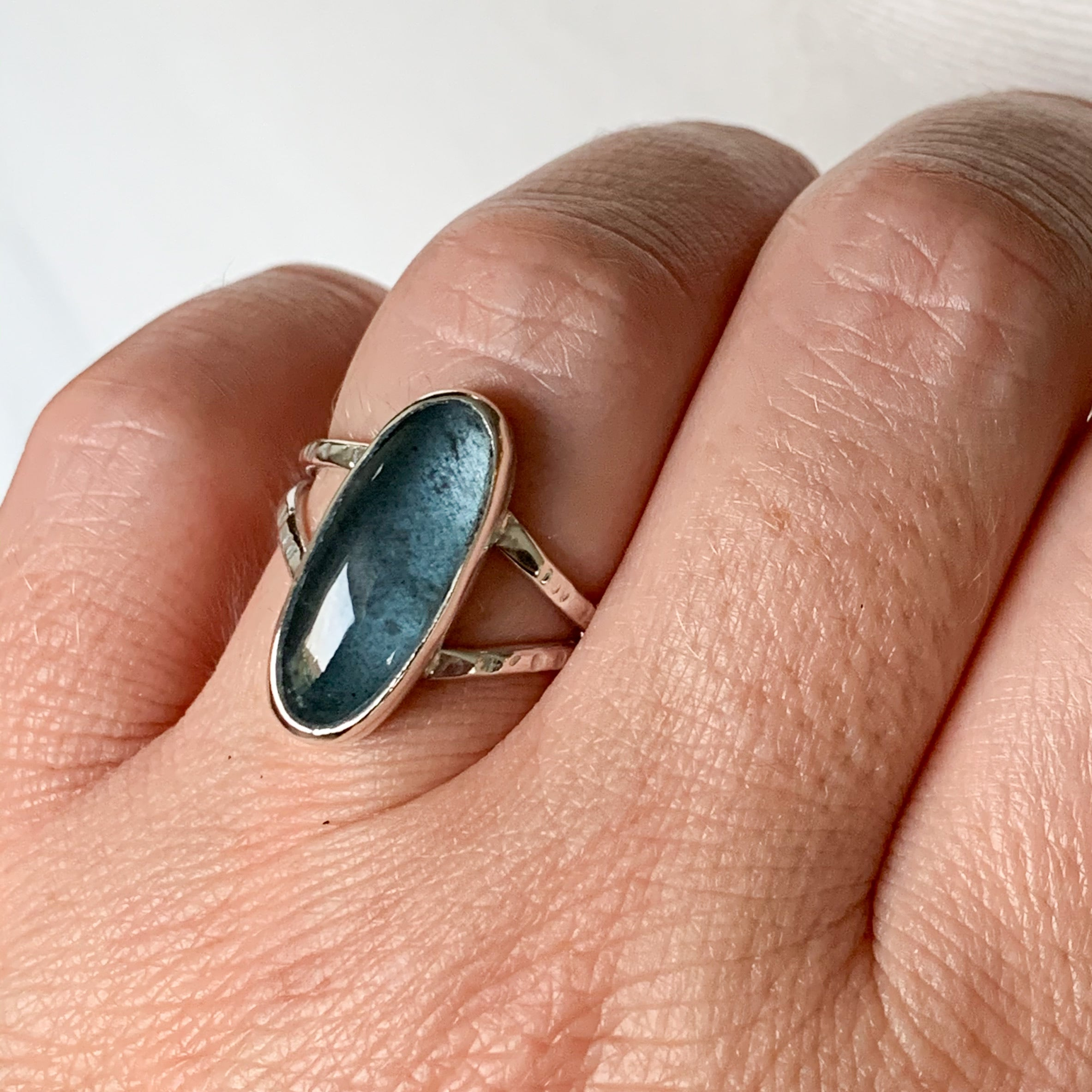 Moss Aquamarine ring  - sterling silver - size 6.75