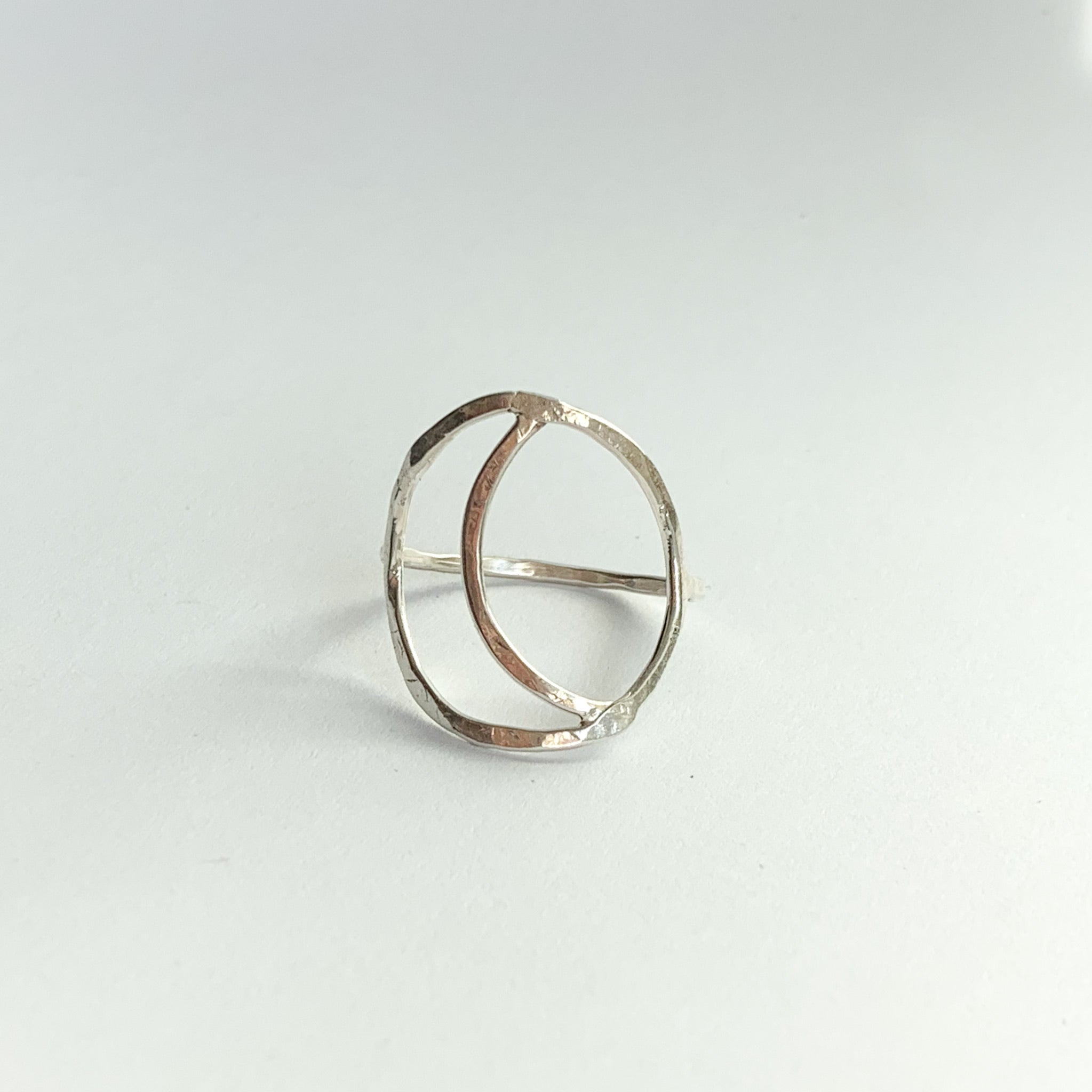 Crescent moon ring - silver