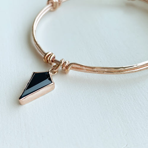 Black Onyx bangle  - rose gold - size 8""