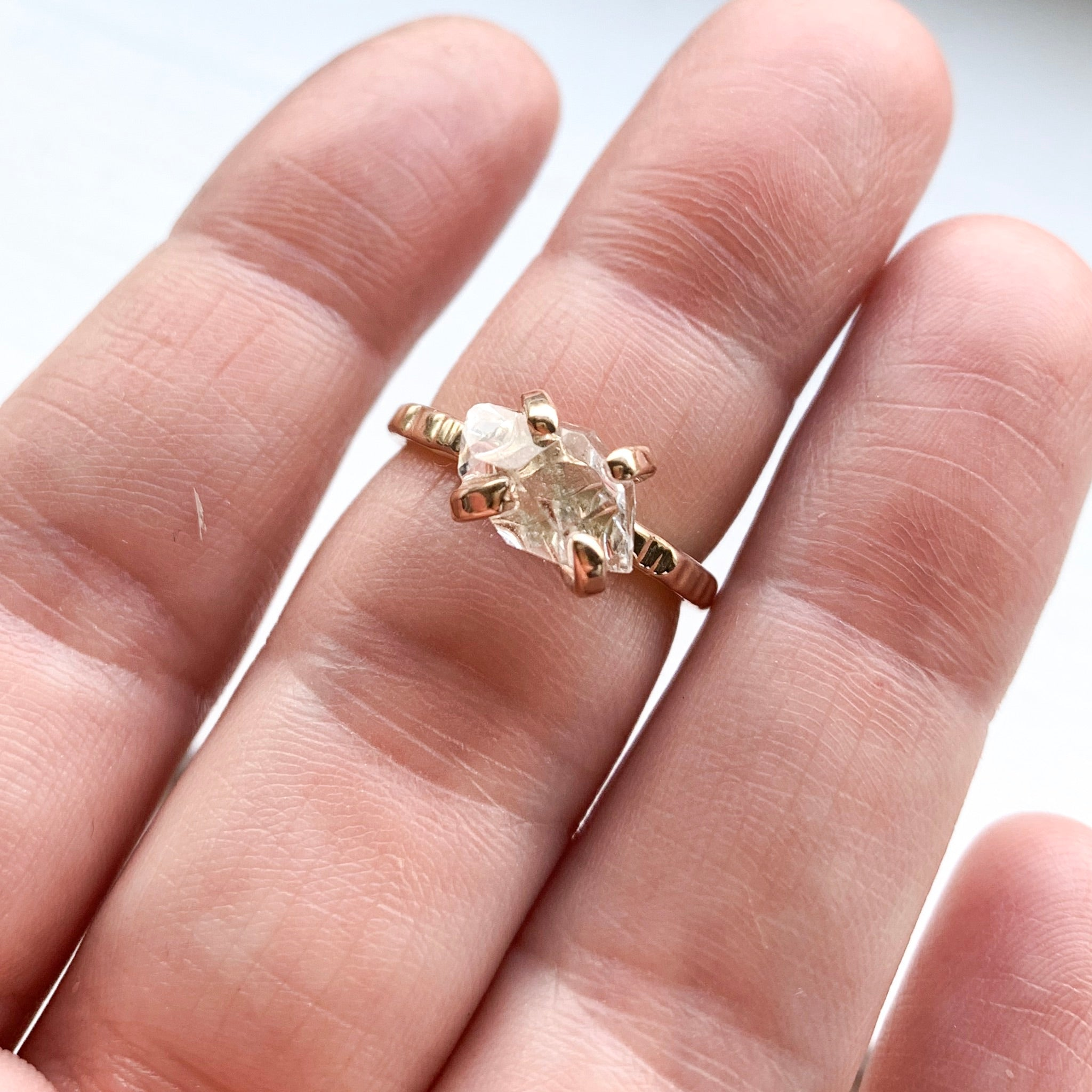 HERKIMER DIAMOND CRYSTAL RING - GOLD - SIZE 6