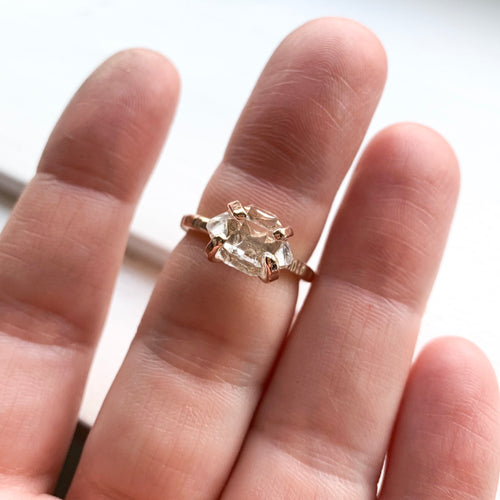 HERKIMER DIAMOND CRYSTAL RING - GOLD - SIZE 5.5