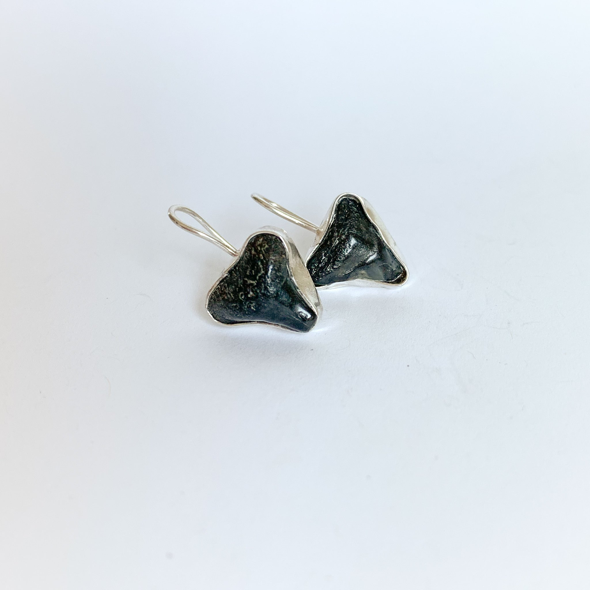 Shark tooth Earrings - sterling silver - black
