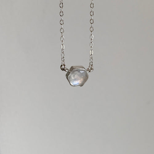 Hexagon necklace - silver