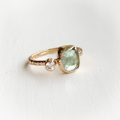 Tourmaline ring - gold - discount! Size 5.5