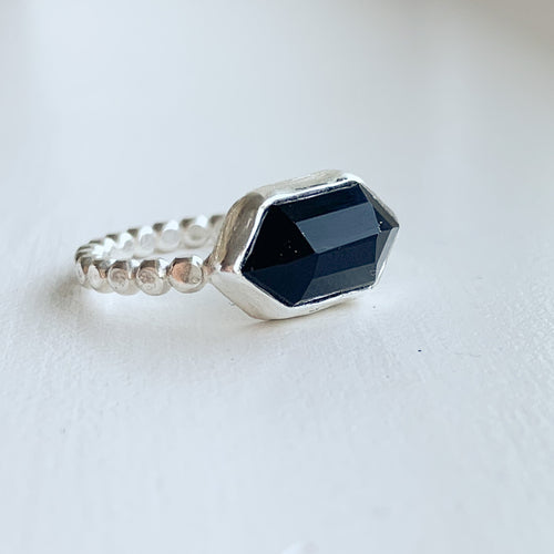 Black Onyx hex ring  - sterling silver - size 8