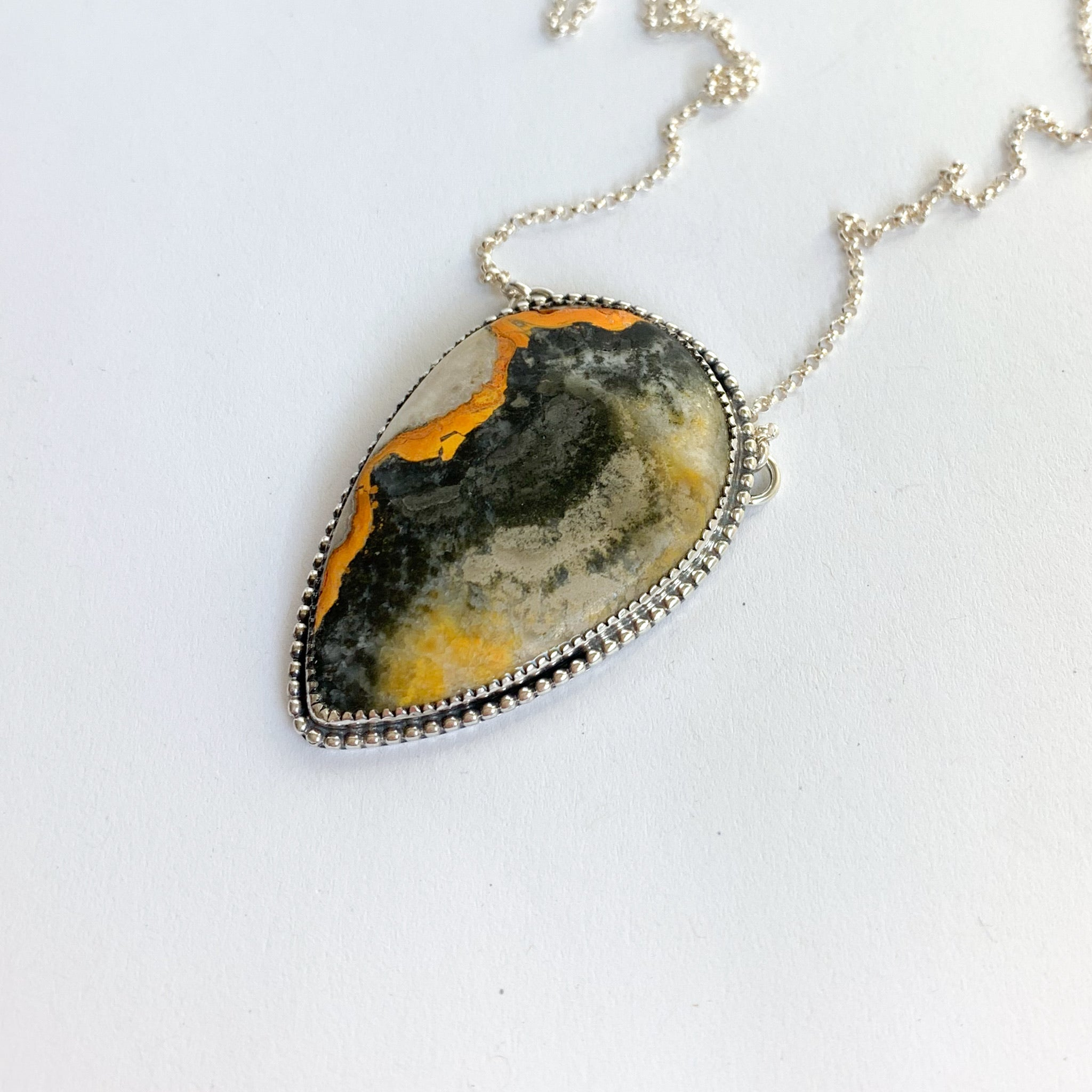 Bumblebee jasper necklace - silver