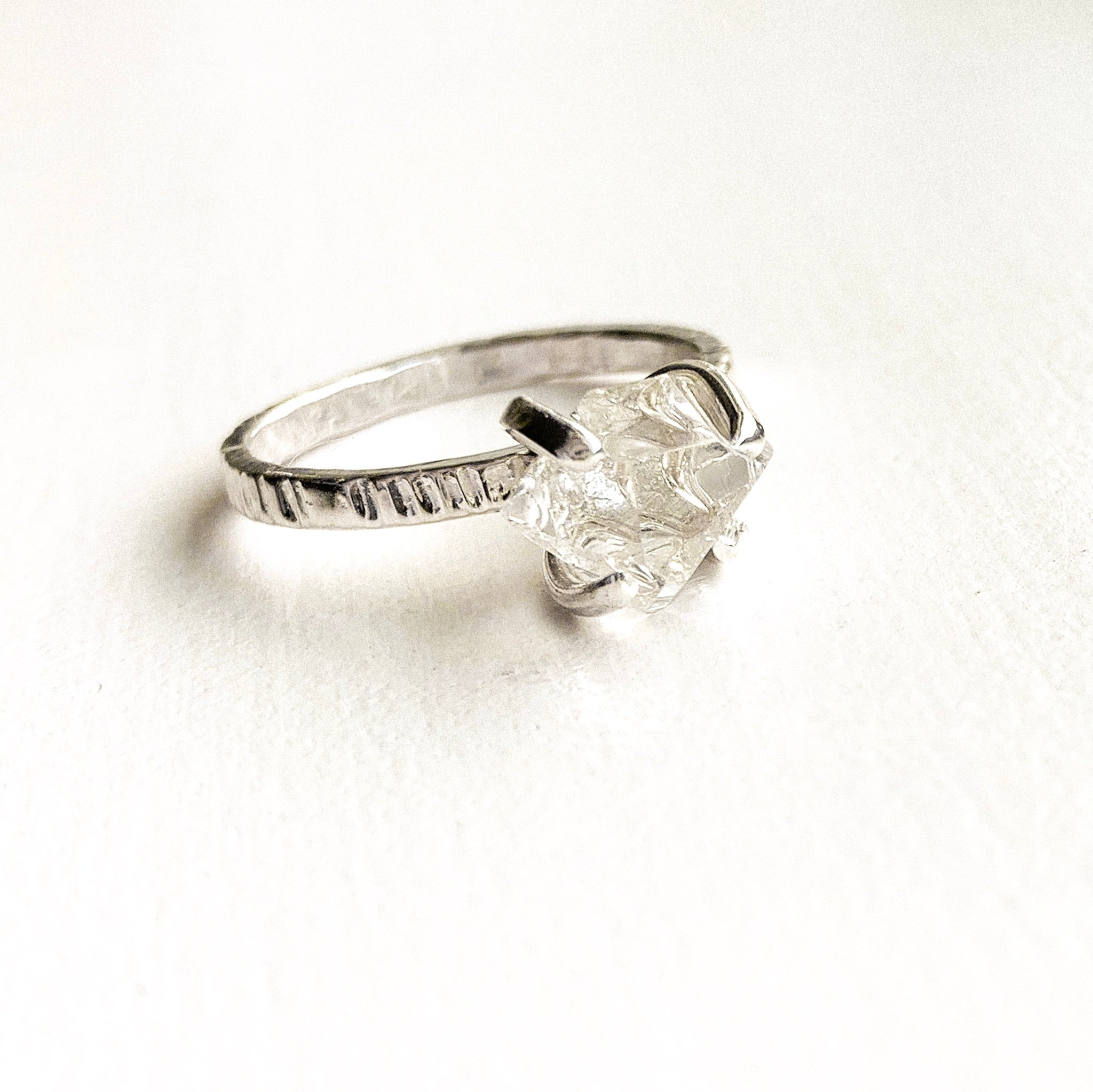HERKIMER DIAMOND CRYSTAL RING - SILVER- SIZE 7