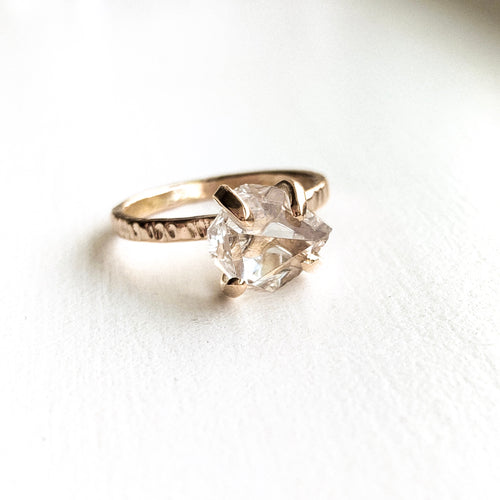 HERKIMER DIAMOND CRYSTAL RING - GOLD - SIZE 8
