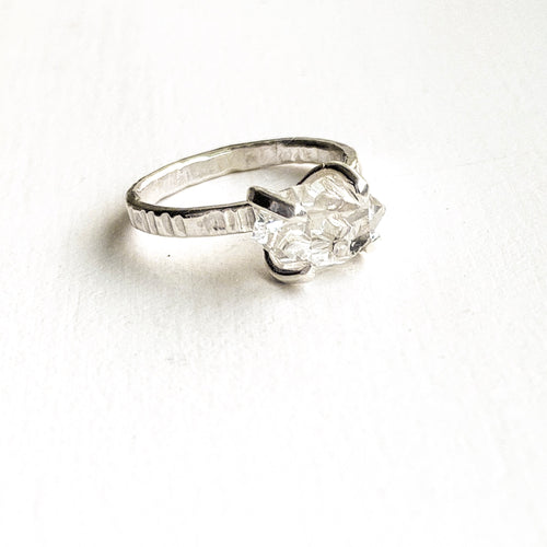 HERKIMER DIAMOND CRYSTAL RING - SILVER- SIZE 5