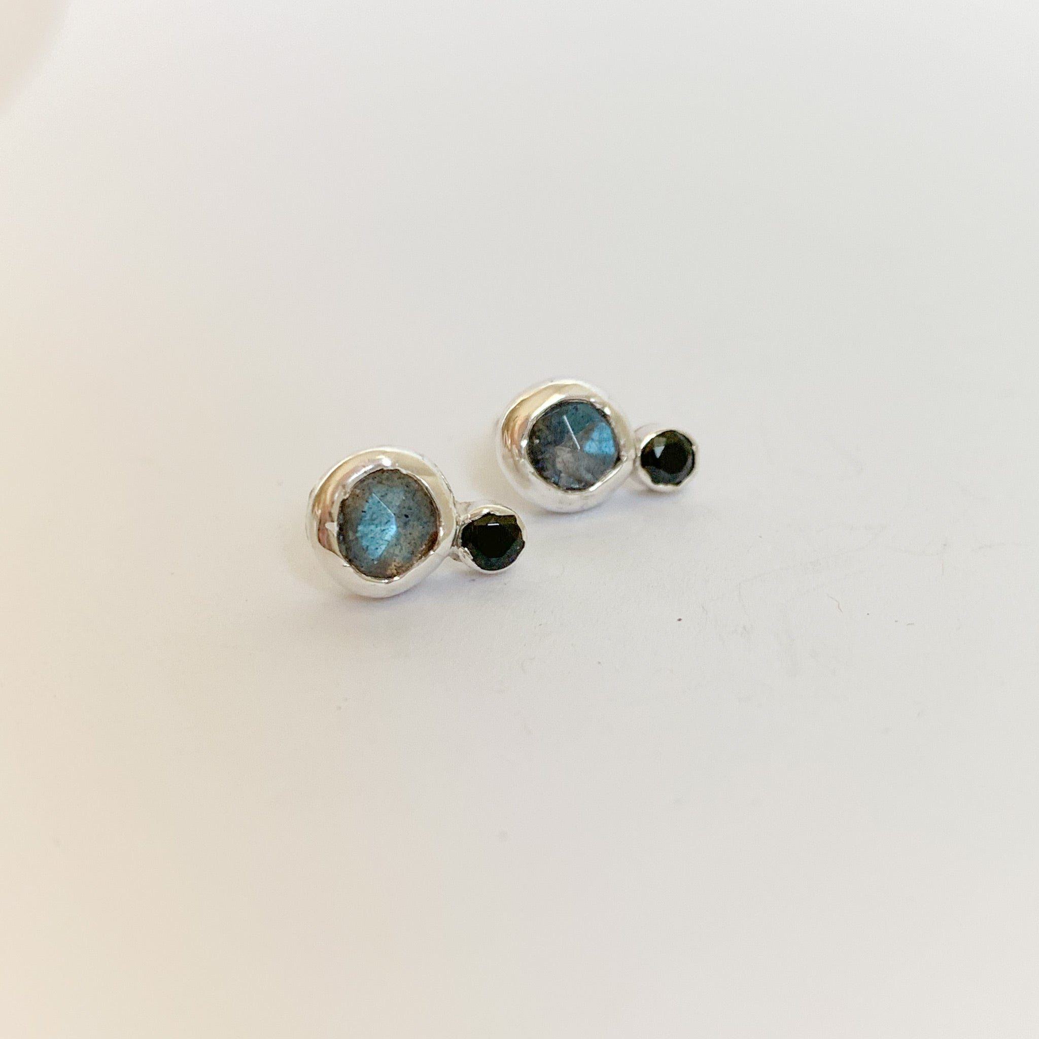 Orb earrings - labradorite and spinel