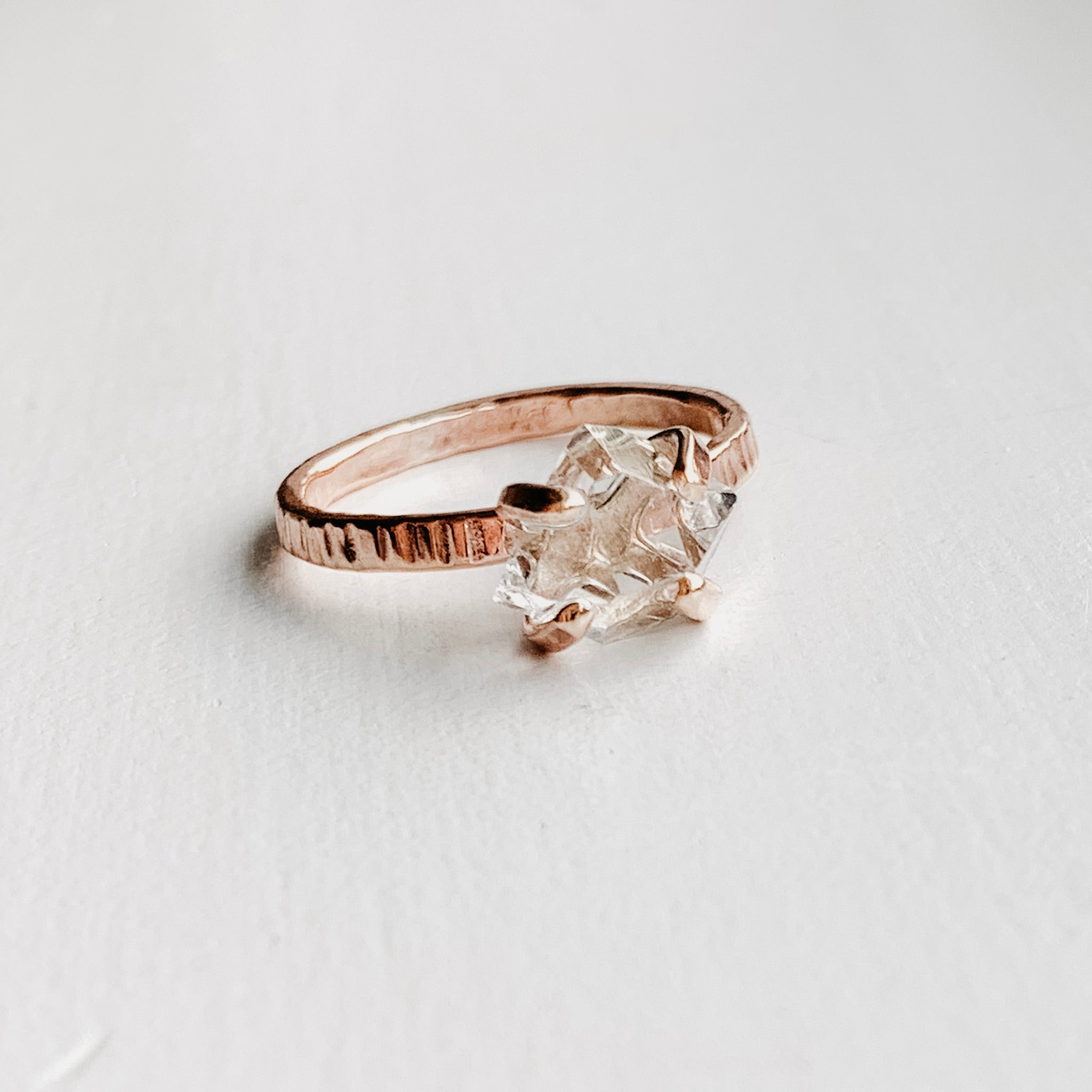 HERKIMER DIAMOND CRYSTAL RING - ROSE GOLD - SIZE 8