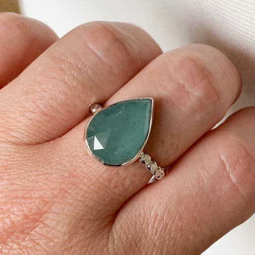 Aquamarine ring  - sterling silver - size 9