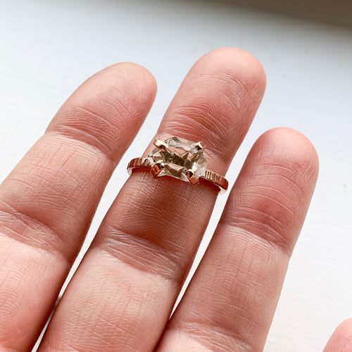 HERKIMER DIAMOND CRYSTAL RING - ROSE GOLD - SIZE 7
