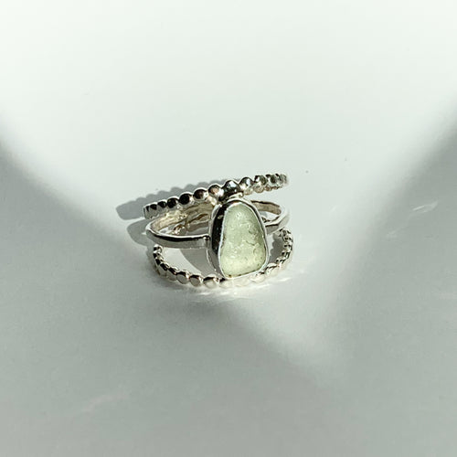 Beachglass ring - silver - seafoam