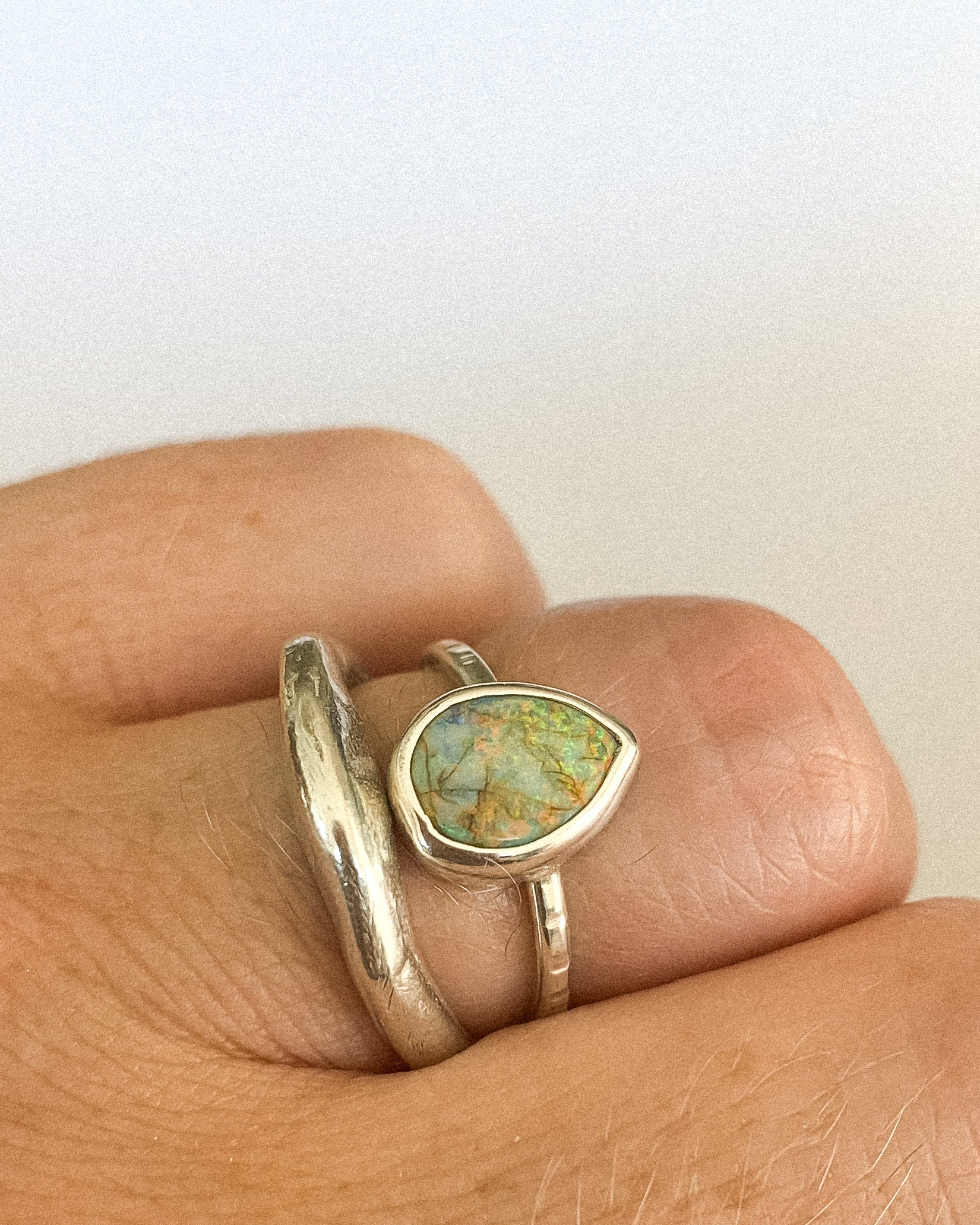 Monarch opal ring - sterling silver - size 5.75