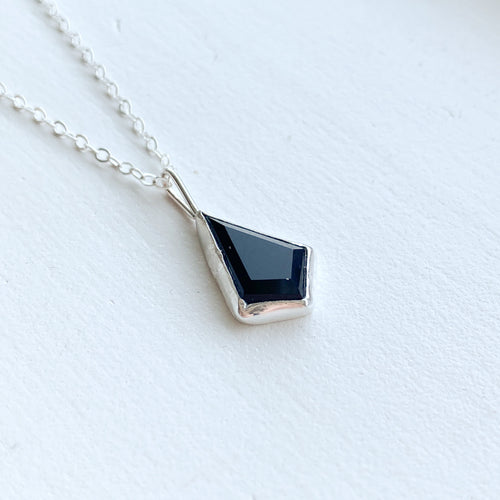 Black Onyx kite necklace  - silver
