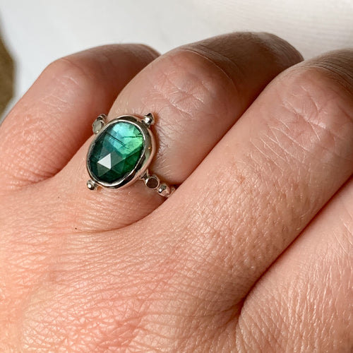 Moss Aquamarine ring - sterling silver - size 6