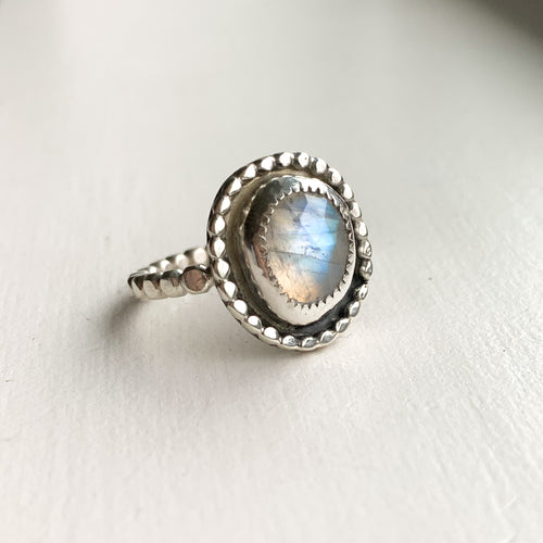beaded detail ring - sterling silver - size 8