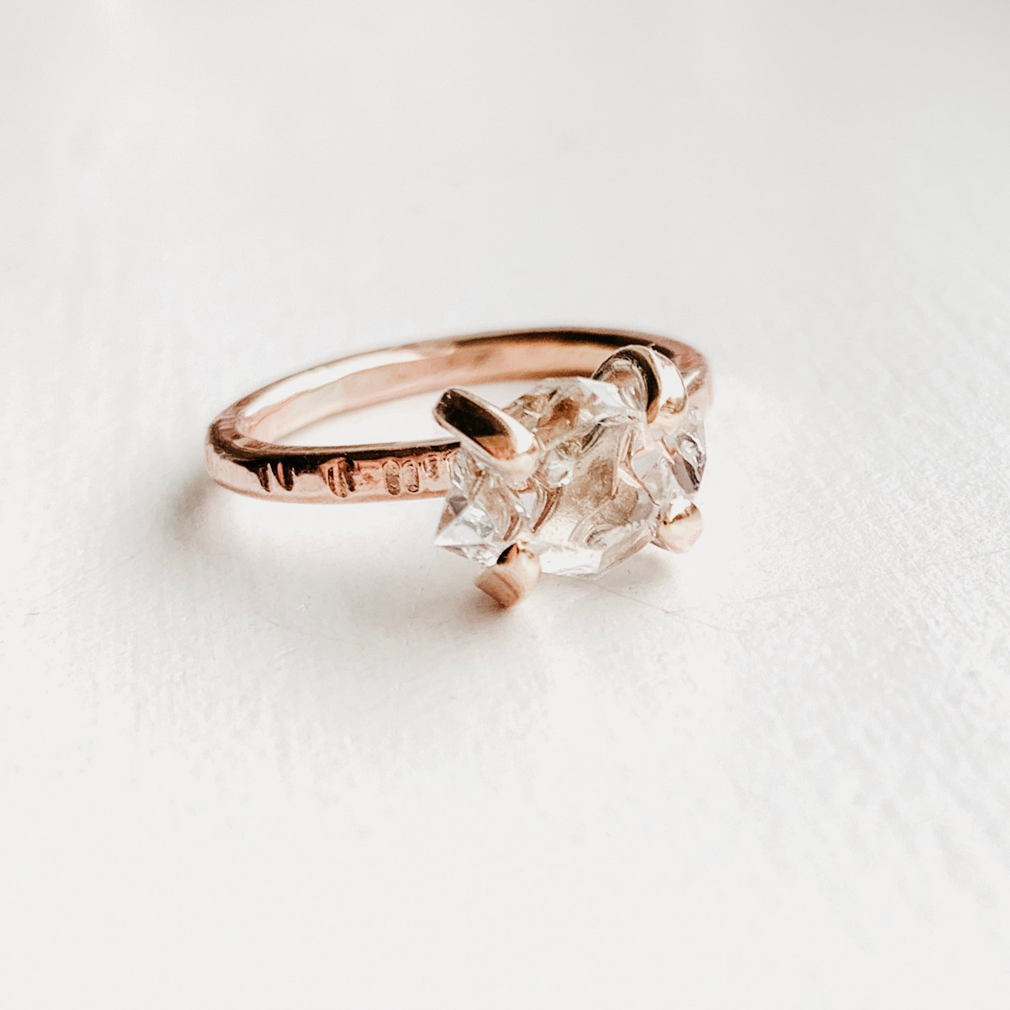 HERKIMER DIAMOND CRYSTAL RING - ROSE GOLD - SIZE 5