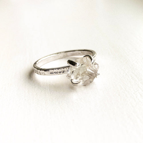 HERKIMER DIAMOND CRYSTAL RING - SILVER- SIZE 8