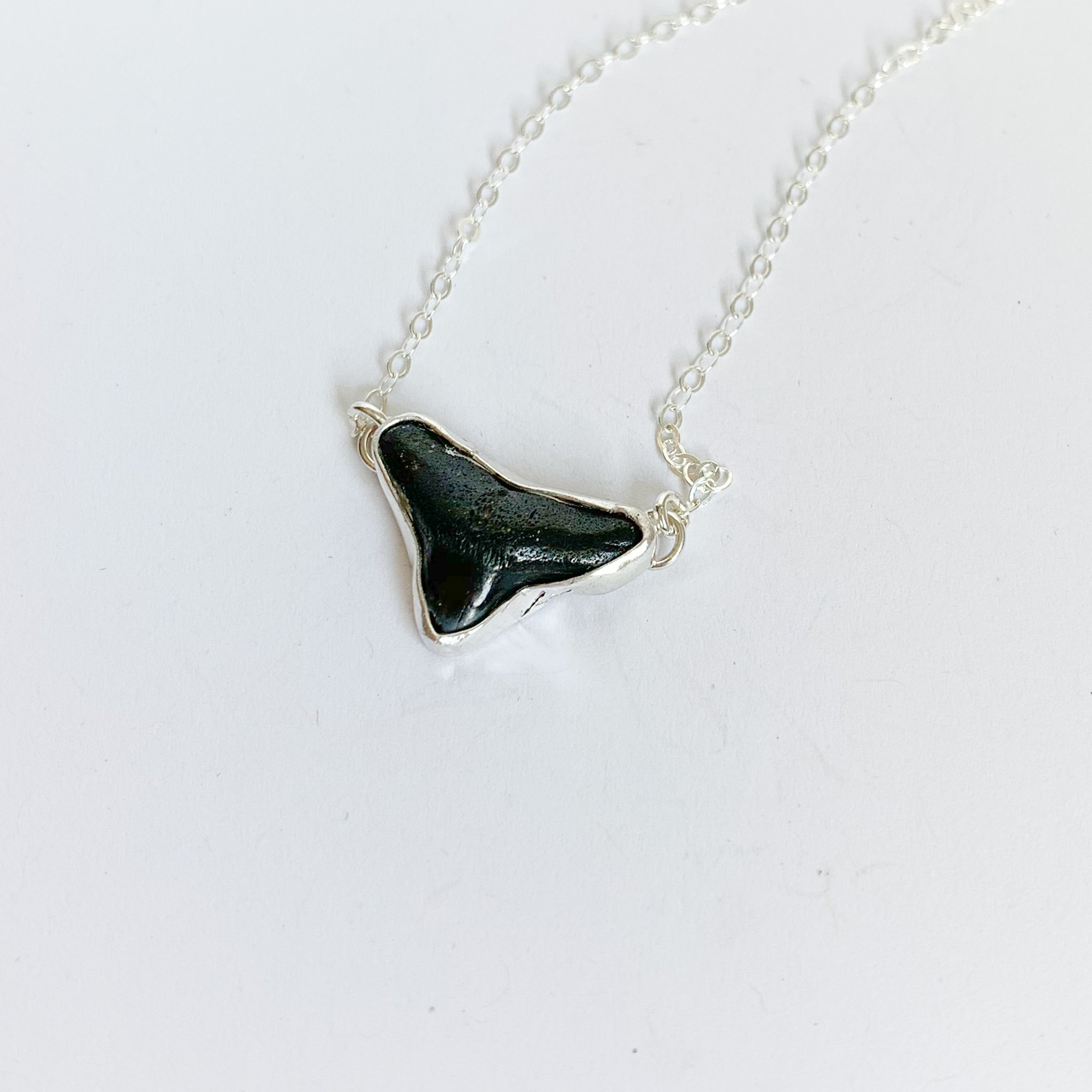 Shark tooth necklace - sterling silver - black