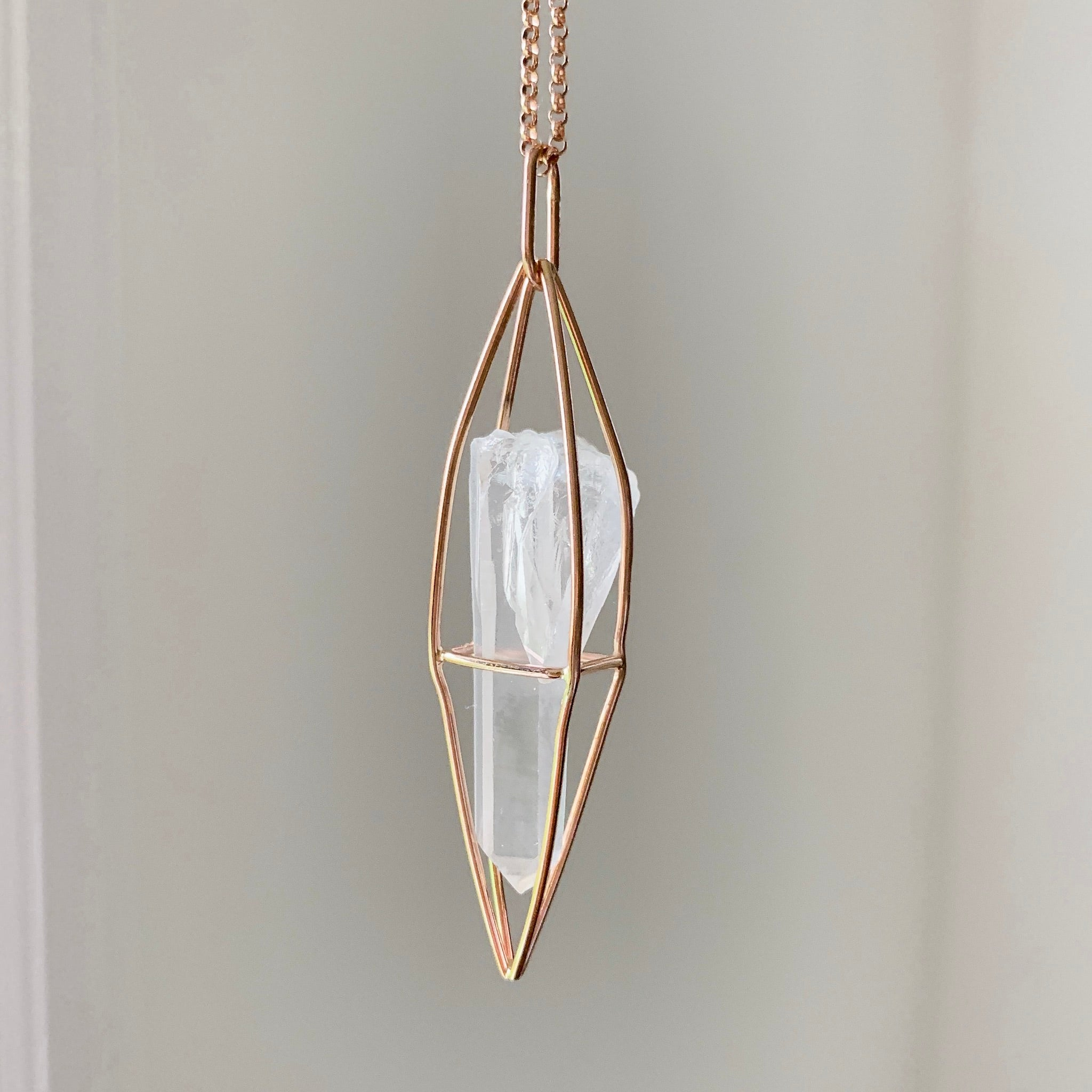 CAGED CRYSTAL - ROSE GOLD - LEMURIAN SEED